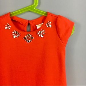 Gymboree•Red Ponte Knit Peplum Jeweled Dress